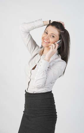 beautiful girl talking on pfone Stock Photo