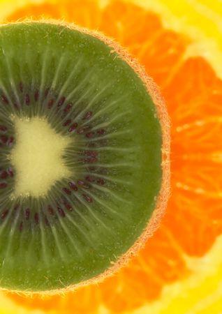 Kiwi and oranges background Stock Photo - 444939