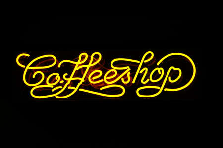 coffeeshop: A neon sign of a coffeshop, photo taken in Amsterdam