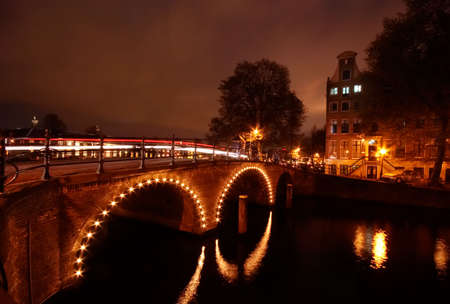 canals in Amsterdam at night (photo taken with a long exposure) photo
