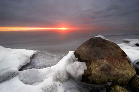 snowlandscape: A cold day in winter and sunset