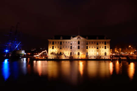 museum in Amsterdam at night (photo taken with a long exposure)  photo