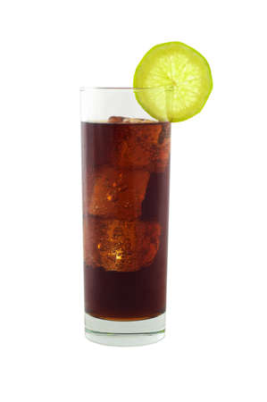 icecubes: Cold cola in longdrink glass with icecubes and lime isolated on white and clipping path included