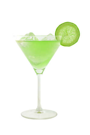 undefined: green cocktail with slice of lime and ice cubes isolated on white and clipping path included Stock Photo