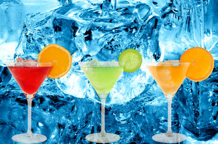 colorful cocktails with a ice cold background photo