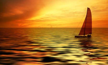 Segelboot gegen einen wunderschönen Sonnenuntergang