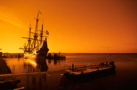 historical architecture: an old ship early in the morning