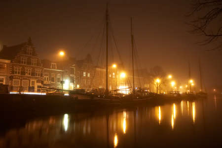 Ships in the netherlands on a misty night Stock Photo - 737633