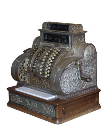 old cash register isolated on white photo