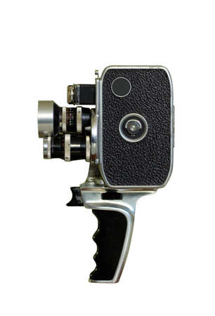 film editing: old film camera isolated on white Stock Photo