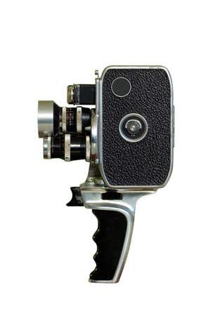 filmmaker: old film camera isolated on white Stock Photo