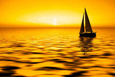 Sailboat against a beautiful sunset Stock Photo - 862566
