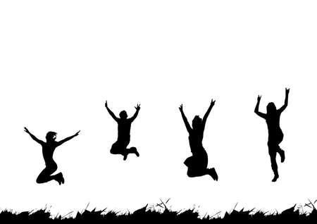 hand beats: Happy people jumping