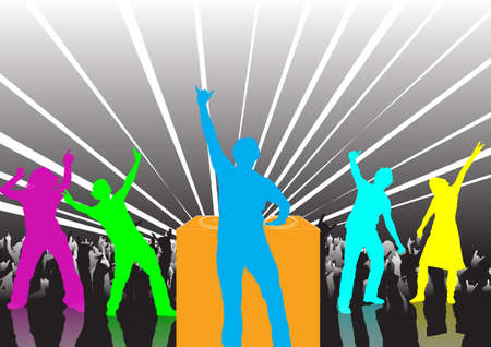 happy people dancing at a party  photo