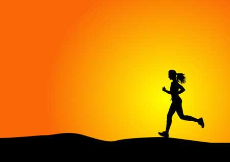 Silhouette einer Frau läuft mit Sonnenuntergang Standard-Bild