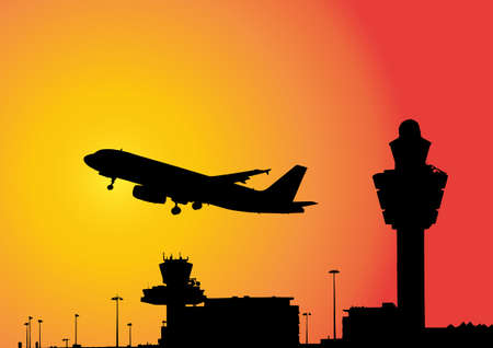 airport: vector image of a plane flying above airport Stock Photo