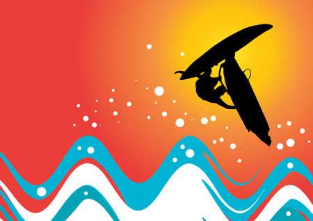 vektorbild eines windsurfer in der Tätigkeit