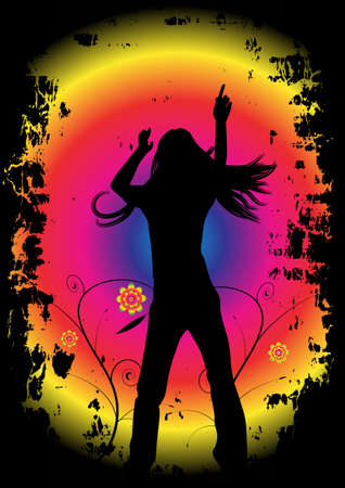 woman dancing, vector party design photo
