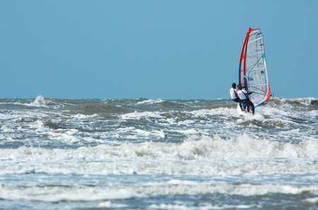 plucky: tandem windsurfing on a windy day