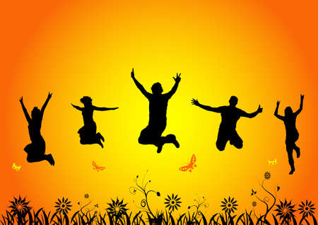 happy people jumping in summer Stock Photo - 946677