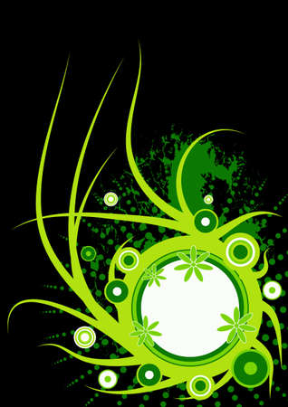 trendy vector floral design with copyspace in the circle  photo