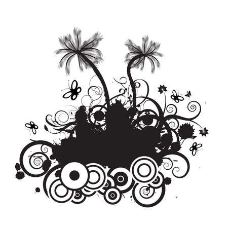 trendy vector palmtree design with lots of copyspace photo