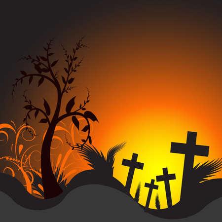 almighty: illustrazione vettoriale di un cimitero con il tramonto  Archivio Fotografico