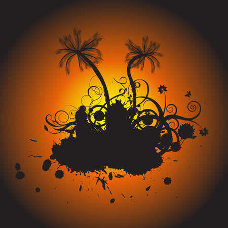 trendy grunge vector floral with palmtrees design Stock Photo - 1171016