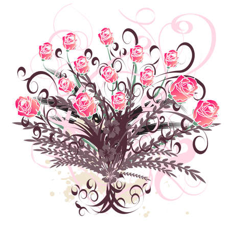 beautiful vector floral design with roses photo