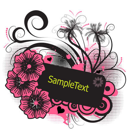 trendy tropical vector palmtree and flower design photo