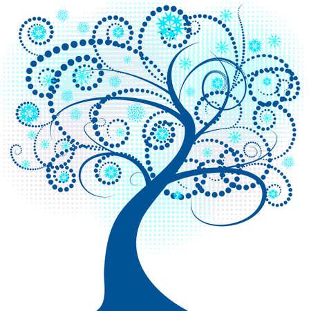 beautiful abstract vector winter tree design