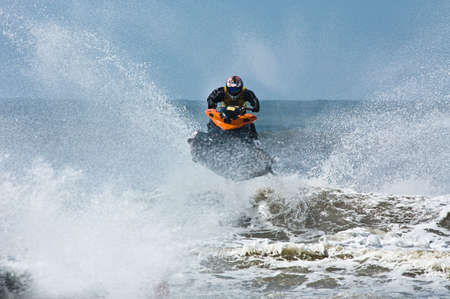personal watercraft: extreme  jet-ski watersports with big waves Stock Photo