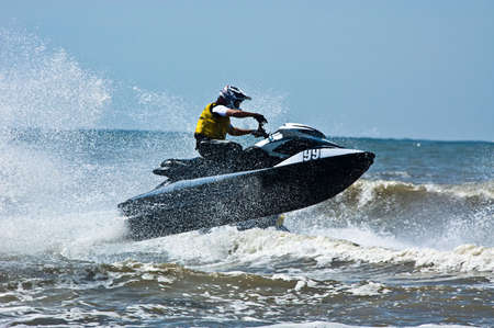 extreme  jet-ski watersports with big waves Stock Photo