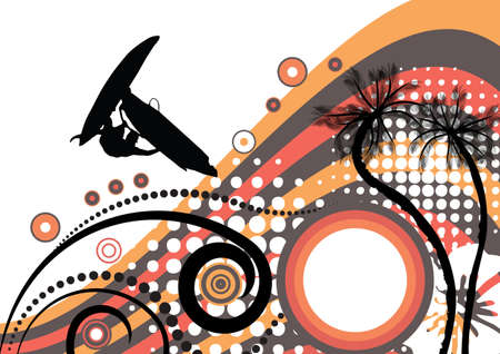 groovy grunge vector tropical design with windsurfer in the air  photo