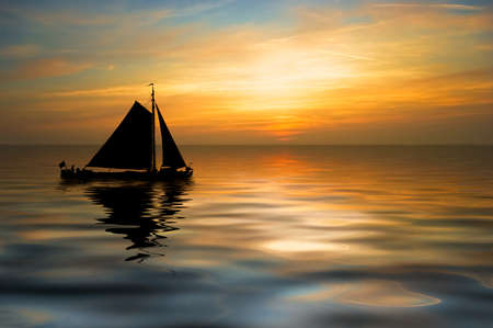 an old sailboat on a beautiful night photo