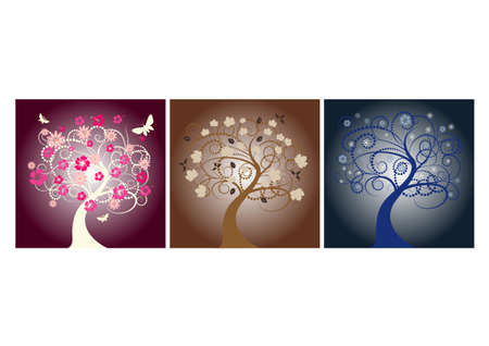 beautiful vector tree designs in different seasons  photo