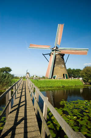 watermanagement: beautiful windmill landscape at kinderdijk in the netherlands Stock Photo