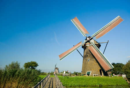 beautiful windmill landscape at kinderdijk in the netherlands Stock Photo - 1535401