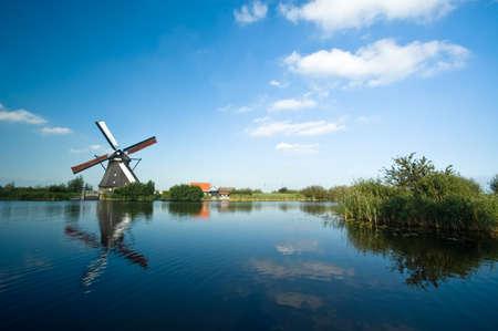 beautiful windmill landscape at kinderdijk in the netherlands Stock Photo - 1535396