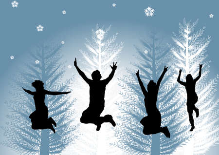 happy people in winter time Stock Photo - 1546140