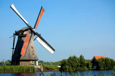 beautiful windmill landscape at kinderdijk in the netherlands Stock Photo - 1546131