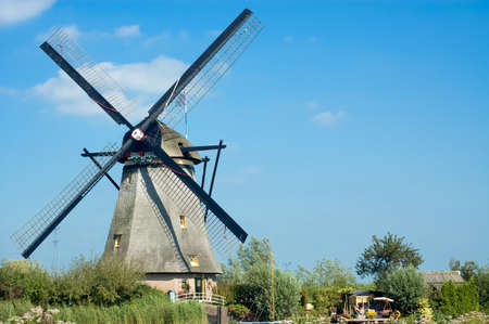 beautiful windmill landscape at kinderdijk in the netherlands Stock Photo - 1546130