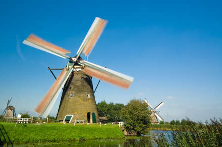 beautiful windmill landscape at kinderdijk in the netherlands Stock Photo - 1546127