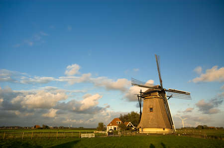 watermanagement: beautiful dutch windmill with blue sky
