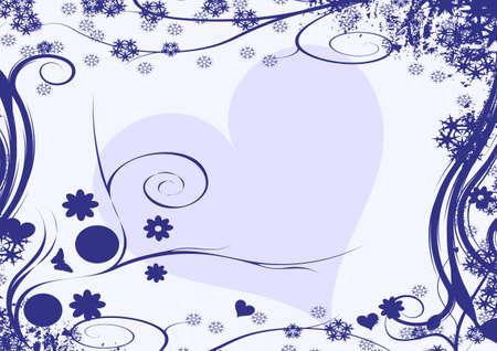 winter vector floral heart design Stock Photo - 1583955