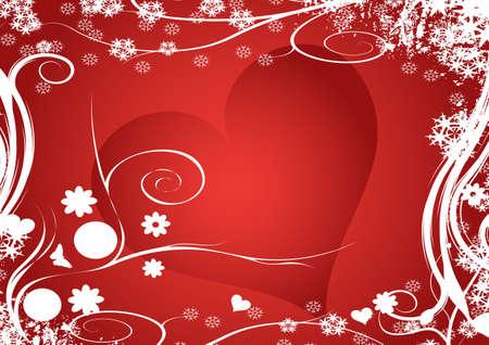 winter vector floral heart design photo