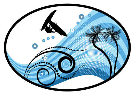 windsurf: groovy grunge vector tropical design with windsurfer in the air
