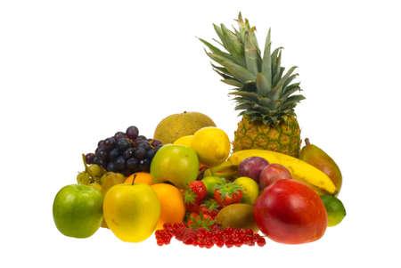 lots of fresh fruit isolated on white  Stock fotó