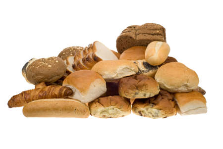 assortment of fresh baked bread isolated on a white background photo