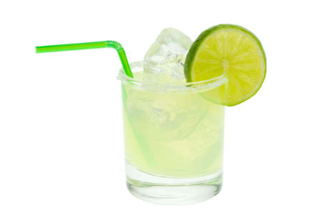 margarita with lime isolated on a white background photo